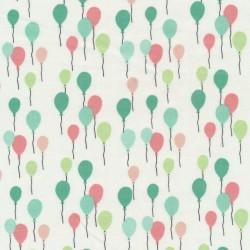 Bomuld med balloner i knækket hvid mint koral irgrøn