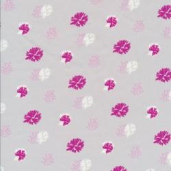 Bomuldspoplin med blomst/frøstand i lysegrå