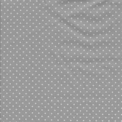 Bomuld med små prikker i lysegrå og hvid