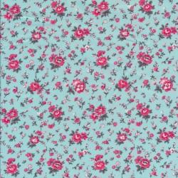 Bomuldspoplin lys turkis-blå med blomster i pink