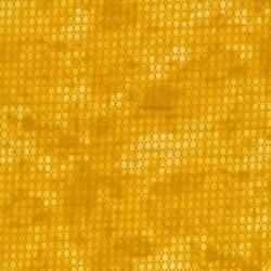 Bomuld batik med prikker i carry og gul