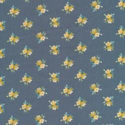 Bomuldspoplin i grå-blå med blomster i carry