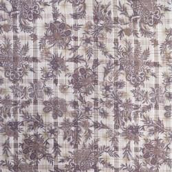 Bomulds-voil med blomster og tern i offwhite grå og pudderbrun