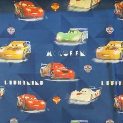 Rest Bomuld m/Biler/Cars i blå- 100 cm.