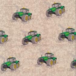 Bomulds poplin økotex i sand med traktor