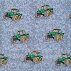 Bomulds poplin økotex i lyseblå med traktor