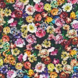Fast bomuld med digitalt tryk med multifarvede blomster