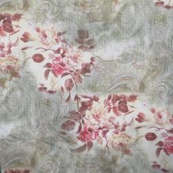 Tæt bomuld med blomster og sjalsmønster i offwhite army rosa