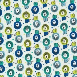Bomuld med løver i lysegrøn, blå, lime