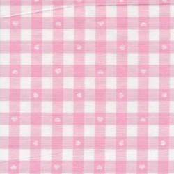 Ternet bomuld/polyester med hjerter i hvid og lyserød