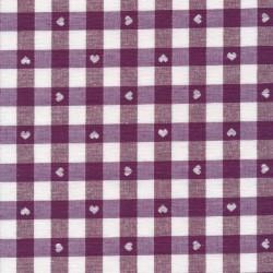 Ternet bomuld/polyester med hjerter i hvid og vinrød