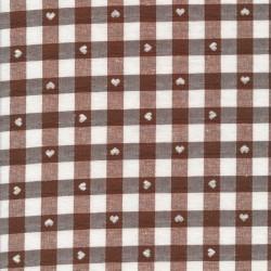 Ternet bomuld/polyester med hjerter i hvid og brun