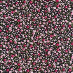 Små-blomstret bomulds poplin i sort, babylyserød og pink