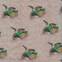 Bomulds poplin økotex i lys grå med traktor