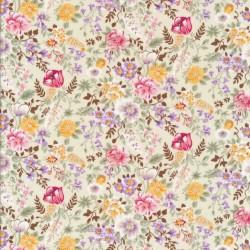 Bomulds poplin offwhite med blomster i sarte farver