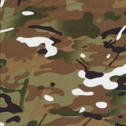 Bomuld i camuflage/army print i army, rødbrun og hvid