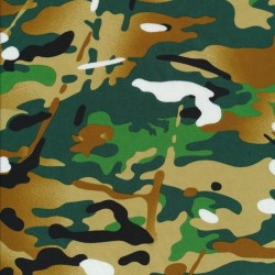 Bomuld i camuflage/army print i flaskegrøn, grøn og hvid