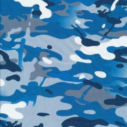 Bomuld i camuflage/army print i blå, grå og hvid