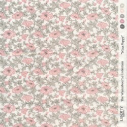 Bomuldspoplin Liberty - Nina Poppy i hvid lyserød lysegrøn