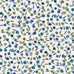 Bomuld med blomster i hvid, lime, flaskegrøn