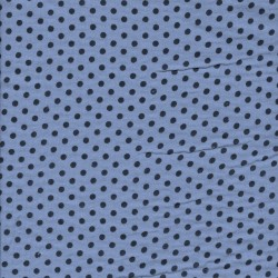 Bomuld i Double Gauze i lys blå med prikker