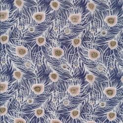 Bomuldspoplin Liberty - Pipers Peacock i mørkeblå, hvid, pudder
