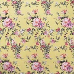 Bomuld m/stræk i gul med blomster