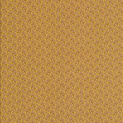 Bomuldspoplin med lille blad i pudder-brun, gul, brun
