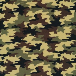 Bomulds poplin i small camouflage - army print