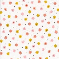 Let Crepé bomuld i hvid med blomster