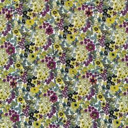 Blomstret bomuld digital print i cerisse, støvet grøn, okker-gul