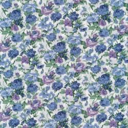 Bomulds-poplin med blomster offwhite, denimblå og lilla