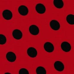 Bomuld med store prikker rød/sort