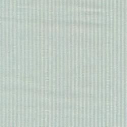Kraftig bomuld/polyester i stribet sildeben i off-white og lys aqua