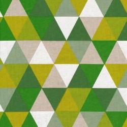 Hør-look med grafisk trekant mønster i grønne farver