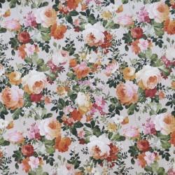 Rest Hør-look med blomster i carry orange army, 52 cm.