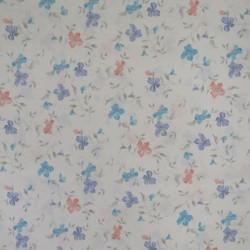 Hvid polyester med blomster til badeforhæng