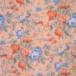 Lys laks polyester med blomster til badeforhæng