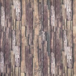Bomuld/polyester med træ-brædder look