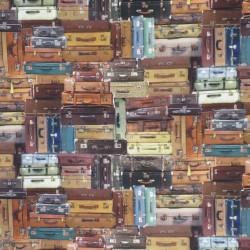 Bomuld med digitalt print med gamle kufferter