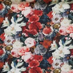 Bomuld med digitalt print med blomster i antik look