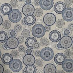 Hør-look med cirkler i denim og blå
