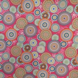 Bomuld/polyester i pink med mulitfarvede cirkler