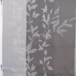 Mørklægnings-stof med svag strib og blad mønster i sand / grå-brun