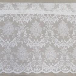 Kappe/Cafegardin i hvid med buet kant og mønster, 50 cm.