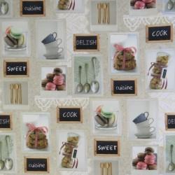 Bomuld m/digitalt print med firkanter af bestik, kopper og kager