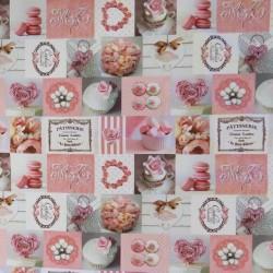 Bomuld m/digitalt print med firkanter med kager og hjerte