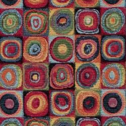 Gobelin med firkanter med cirkler i rød sort grøn