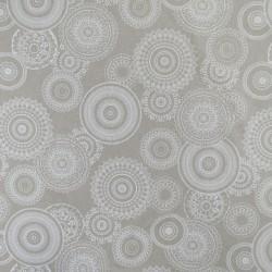 Hør-look med cirkler i hvid