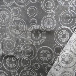 Dug-stof jacquard m/cirkler i sort og sølv